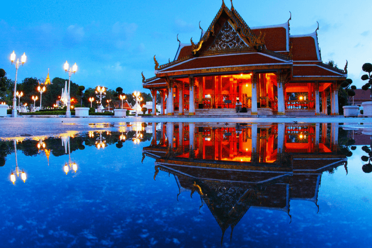Marble temple at twilight